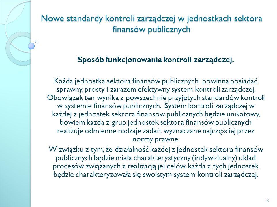 Nowe standardy kontroli zarządczej w jednostkach sektora finansów publicznych Sposób funkcjonowania kontroli zarządczej. Każda jednostka sektora finan
