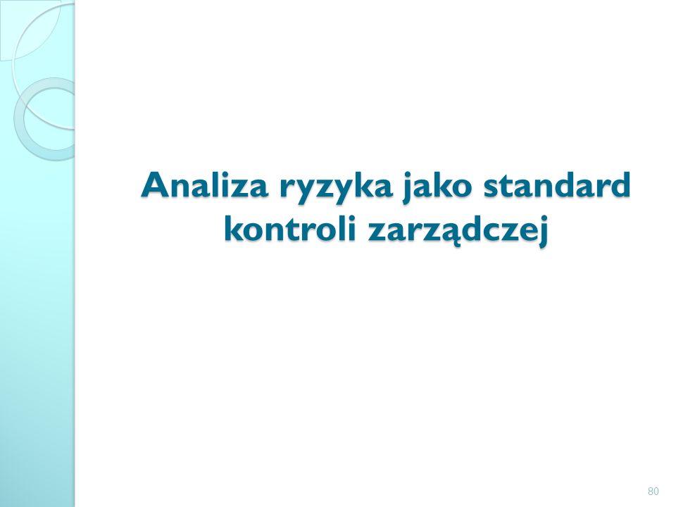 Analiza ryzyka jako standard kontroli zarządczej 80