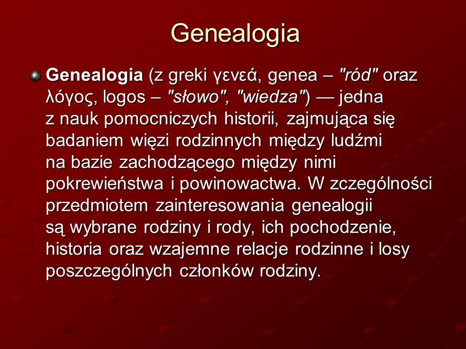 Genealogia Genealogia (z greki γενεά, genea –