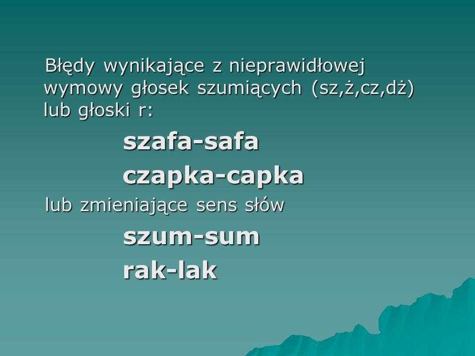 Błędy wynikające z nieprawidłowej wymowy głosek szumiących (sz,ż,cz,dż) lub głoski r: szafa-safa czapka-capka lub zmieniające sens słów szum-sum rak-l
