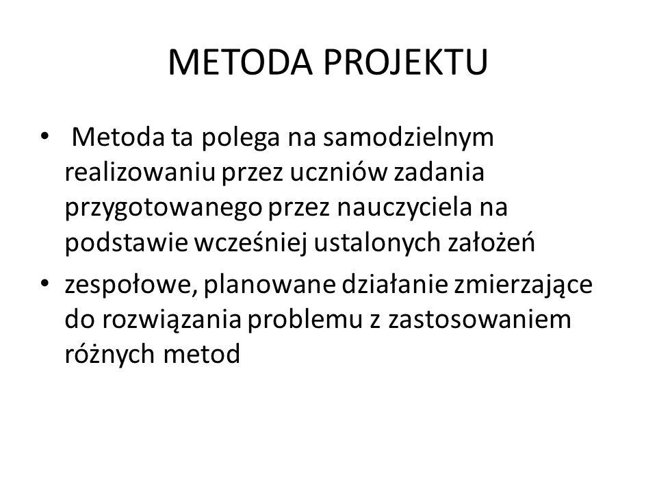METODA PROJEKTU Metoda ta polega na samodzielnym realizowaniu przez uczniów zadania przygotowanego przez nauczyciela na podstawie wcześniej ustalonych