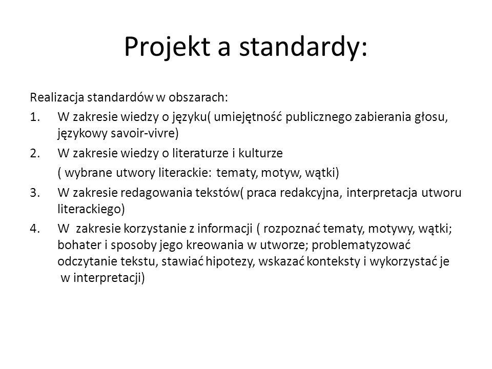 Projekt a standardy: Realizacja standardów w obszarach: 1.W zakresie wiedzy o języku( umiejętność publicznego zabierania głosu, językowy savoir-vivre)