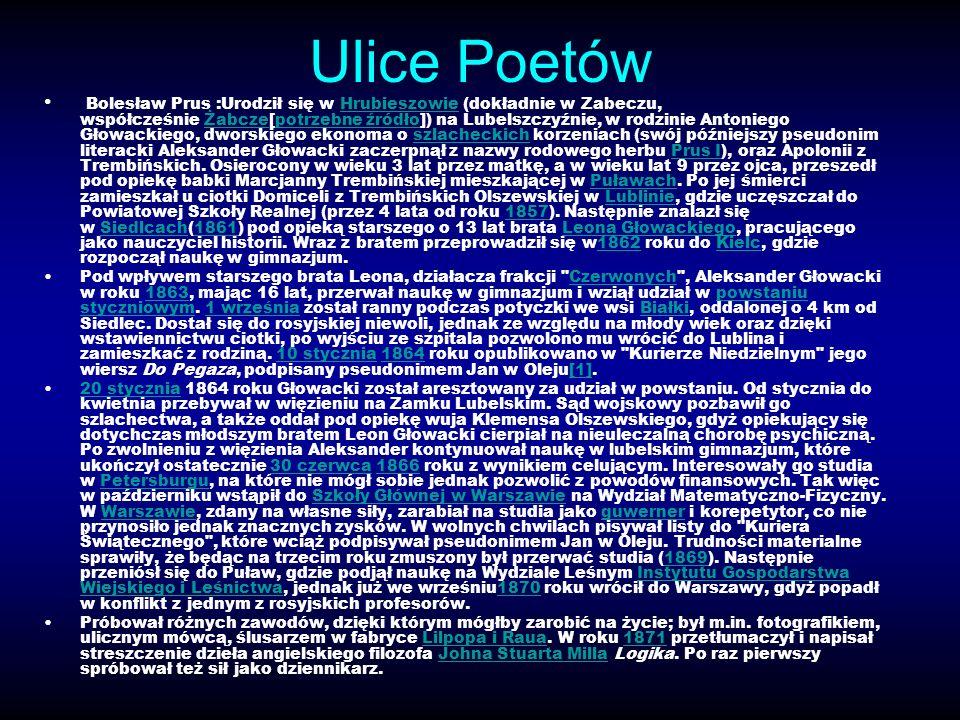 Ulice Poetów Bolesław Prus :Urodził się w Hrubieszowie (dokładnie w Zabeczu, współcześnie Żabcze[potrzebne źródło]) na Lubelszczyźnie, w rodzinie Anto