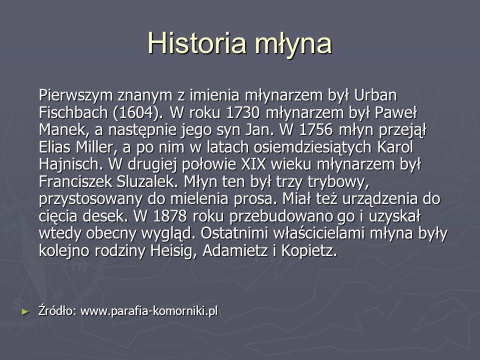 Historia młyna Pierwszym znanym z imienia młynarzem był Urban Fischbach (1604). W roku 1730 młynarzem był Paweł Manek, a następnie jego syn Jan. W 175