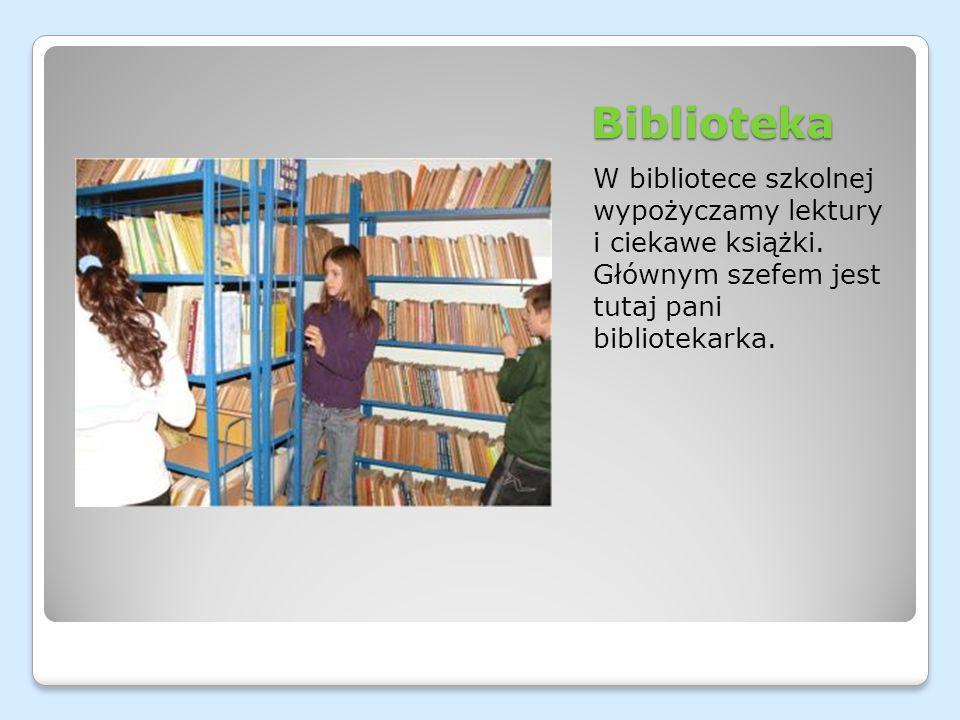 Biblioteka W bibliotece szkolnej wypożyczamy lektury i ciekawe książki. Głównym szefem jest tutaj pani bibliotekarka.