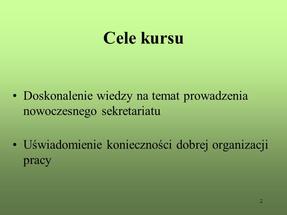 2 Cele kursu Doskonalenie wiedzy na temat prowadzenia nowoczesnego sekretariatu Uświadomienie konieczności dobrej organizacji pracy