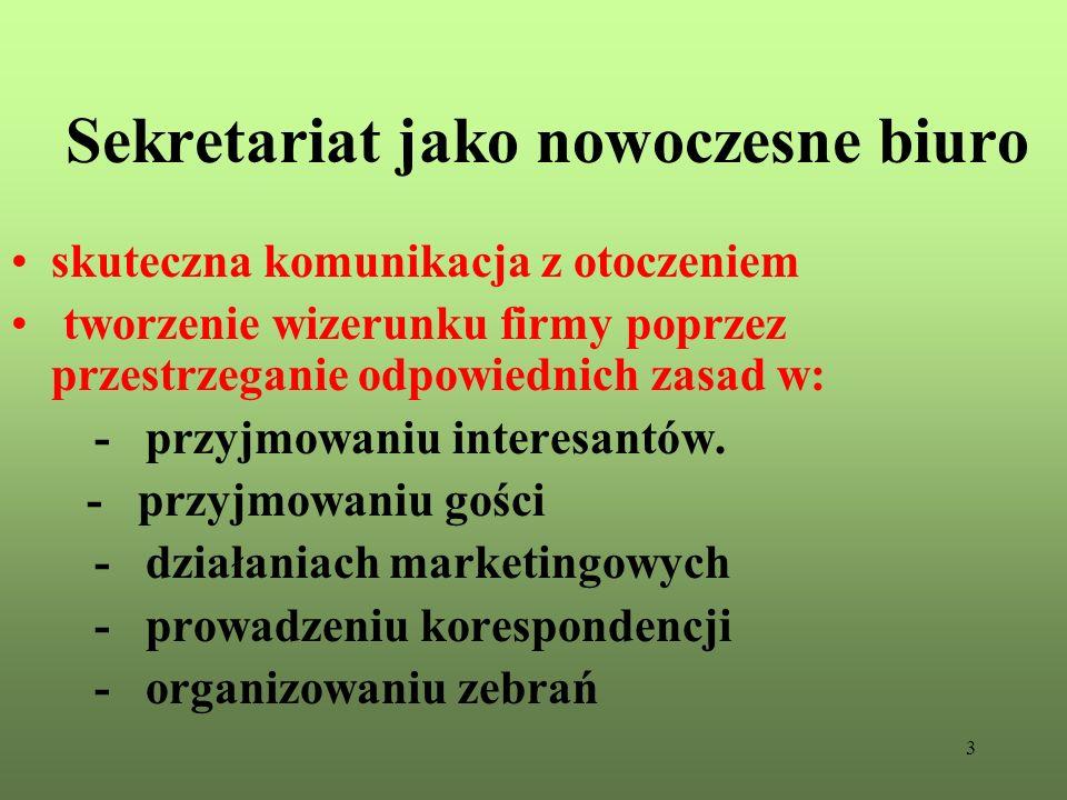 3 Sekretariat jako nowoczesne biuro skuteczna komunikacja z otoczeniem tworzenie wizerunku firmy poprzez przestrzeganie odpowiednich zasad w: - przyjm