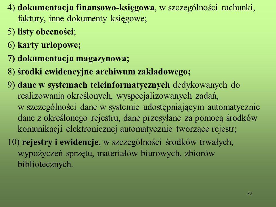32 4) dokumentacja finansowo-księgowa, w szczególności rachunki, faktury, inne dokumenty księgowe; 5) listy obecności; 6) karty urlopowe; 7) dokumenta