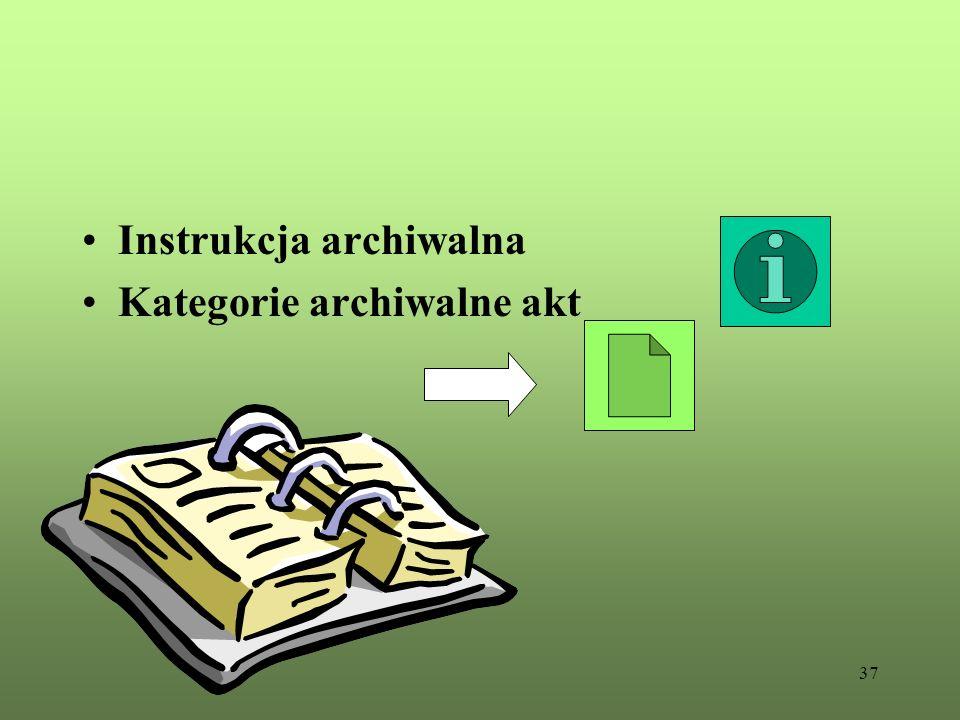 37 Instrukcja archiwalna Kategorie archiwalne akt