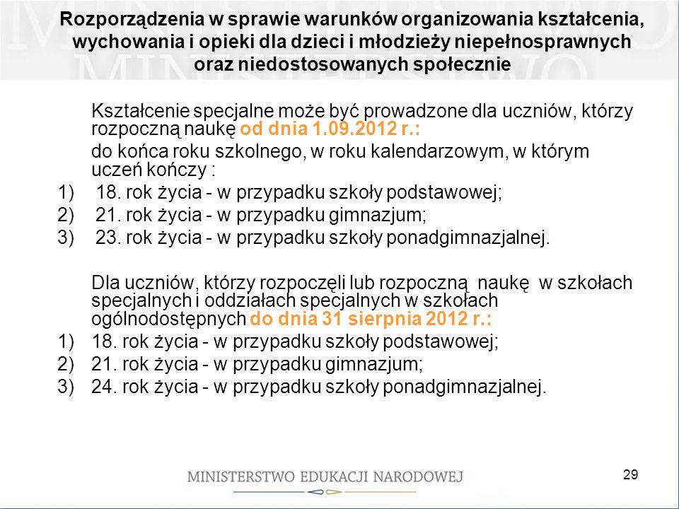 29 Kształcenie specjalne może być prowadzone dla uczniów, którzy rozpoczną naukę od dnia 1.09.2012 r.: do końca roku szkolnego, w roku kalendarzowym,