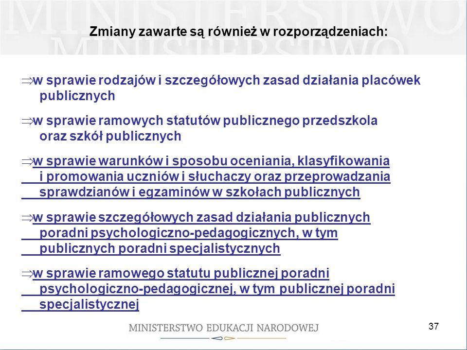 37 Zmiany zawarte są również w rozporządzeniach: w sprawie rodzajów i szczegółowych zasad działania placówek publicznych w sprawie ramowych statutów p
