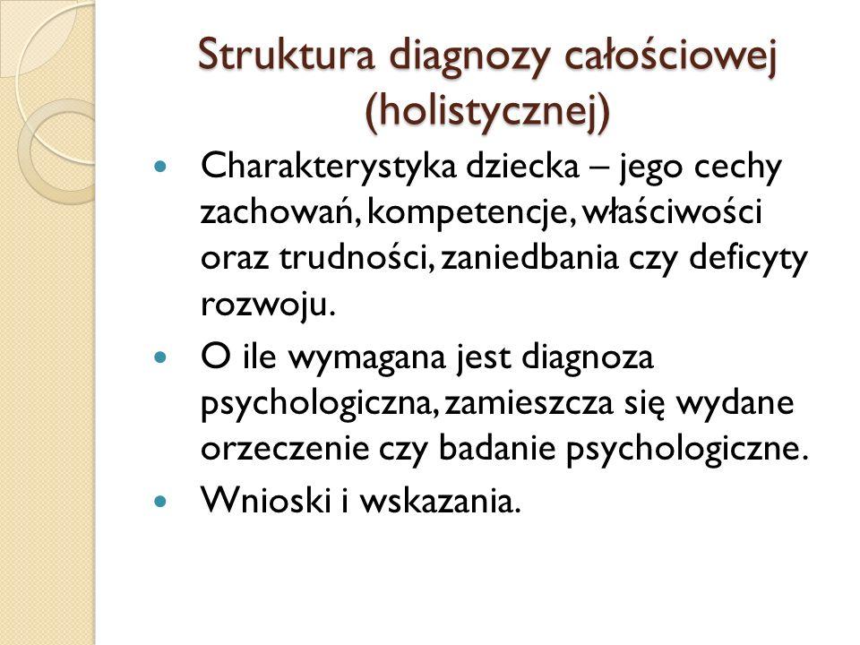 Struktura diagnozy całościowej (holistycznej) Charakterystyka dziecka – jego cechy zachowań, kompetencje, właściwości oraz trudności, zaniedbania czy