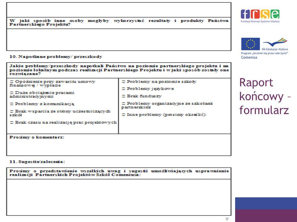 PROGRAM COMENIUS Raport końcowy – formularz
