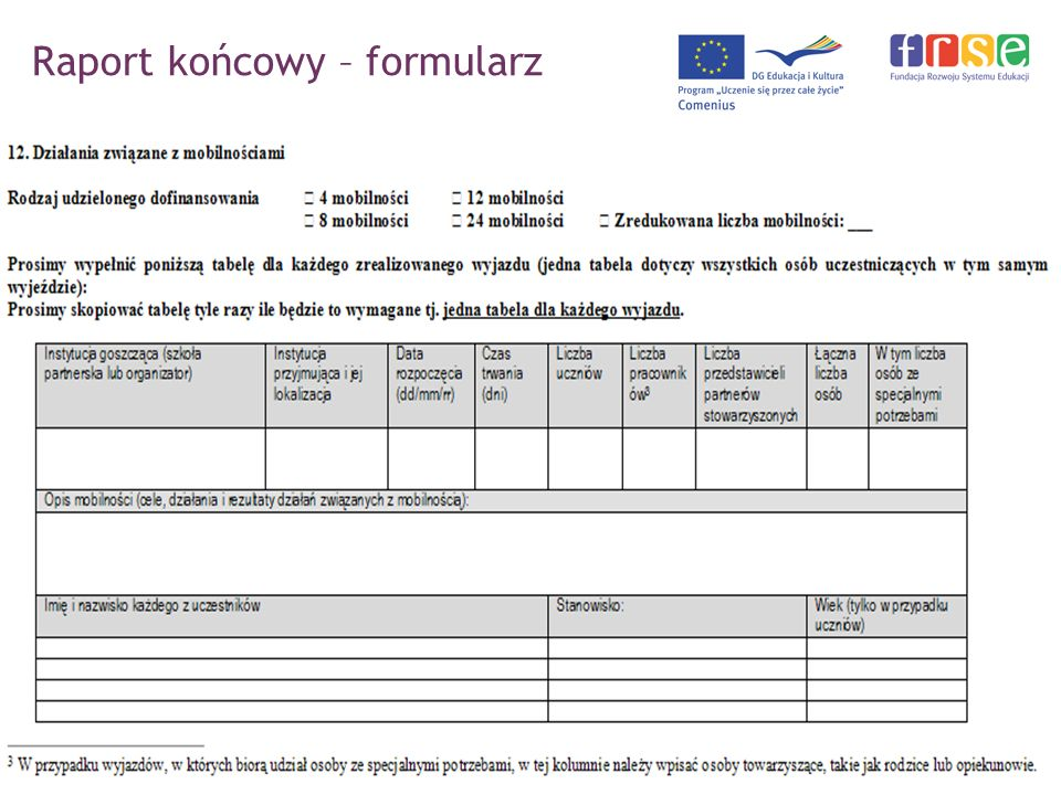Raport końcowy – formularz PROGRAM COMENIUS