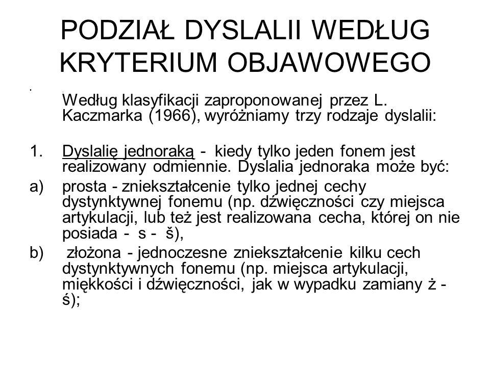 PODZIAŁ DYSLALII WEDŁUG KRYTERIUM OBJAWOWEGO. Według klasyfikacji zaproponowanej przez L. Kaczmarka (1966), wyróżniamy trzy rodzaje dyslalii: 1.Dyslal