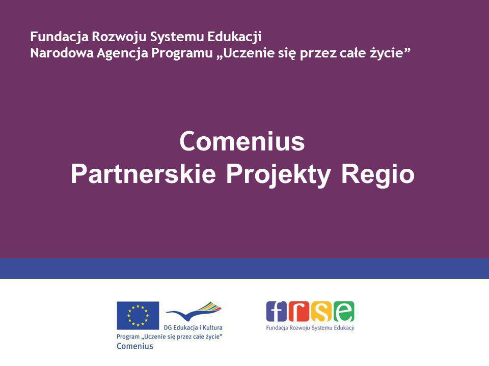 C omenius Partnerskie Projekty Regio Fundacja Rozwoju Systemu Edukacji Narodowa Agencja Programu Uczenie się przez całe życie