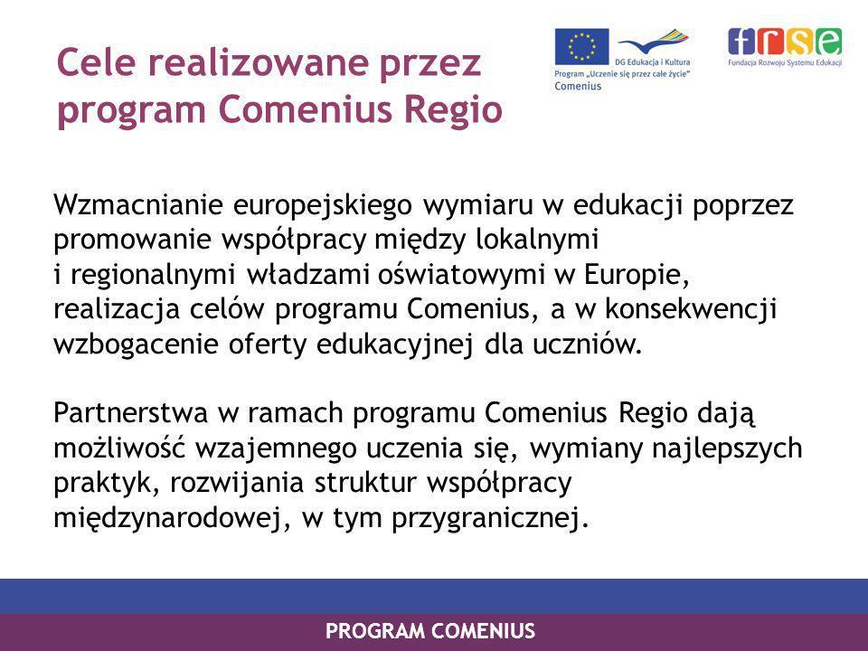 Cele realizowane przez p rogram Comenius Regio Wzmacnianie europejskiego wymiaru w edukacji poprzez promowanie współpracy między lokalnymi i regionalnymi władzami oświatowymi w Europie, realizacja celów programu Comenius, a w konsekwencji wzbogacenie oferty edukacyjnej dla uczniów.