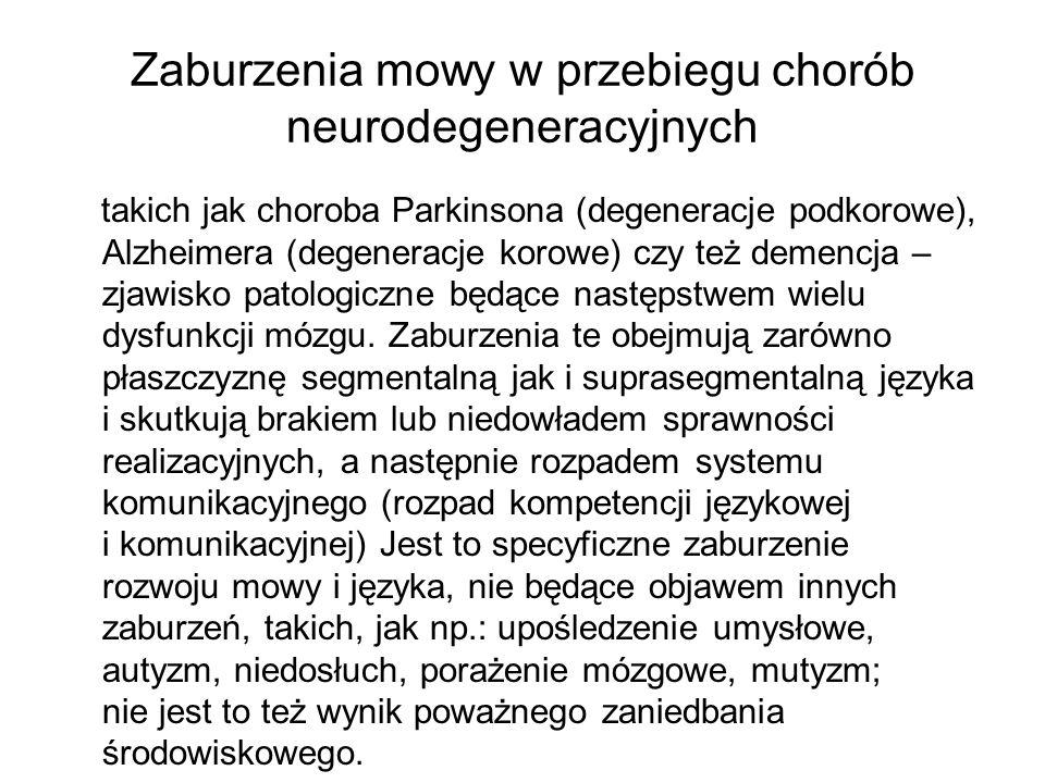 Zaburzenia mowy w przebiegu chorób neurodegeneracyjnych takich jak choroba Parkinsona (degeneracje podkorowe), Alzheimera (degeneracje korowe) czy też