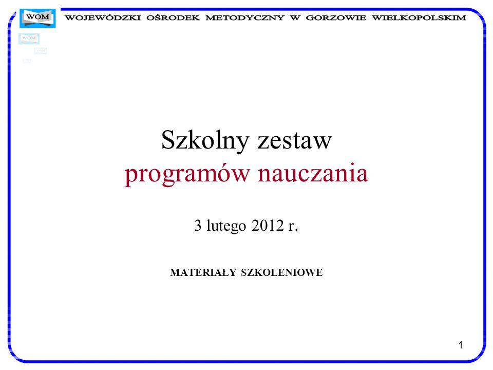 1 Szkolny zestaw programów nauczania 3 lutego 2012 r. MATERIAŁY SZKOLENIOWE