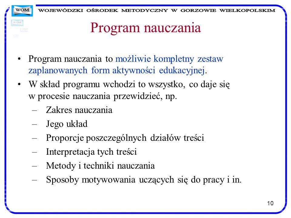 10 Program nauczania Program nauczania to możliwie kompletny zestaw zaplanowanych form aktywności edukacyjnej. W skład programu wchodzi to wszystko, c