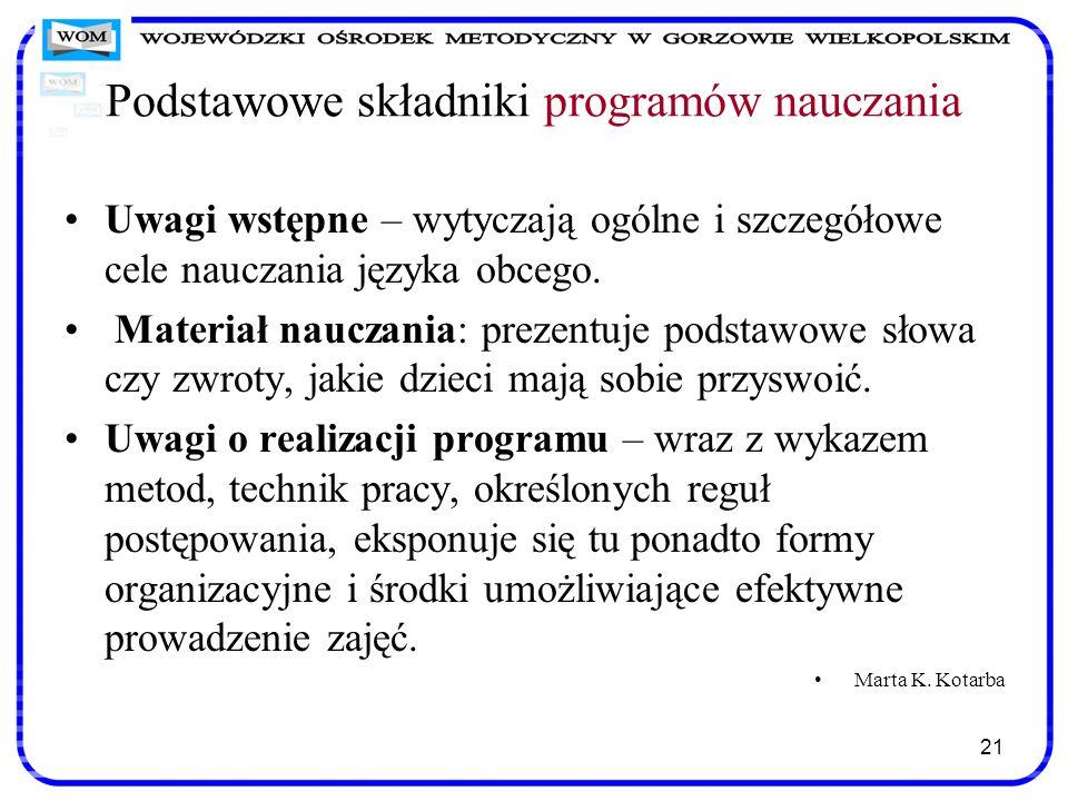 Podstawowe składniki programów nauczania Uwagi wstępne – wytyczają ogólne i szczegółowe cele nauczania języka obcego. Materiał nauczania: prezentuje p