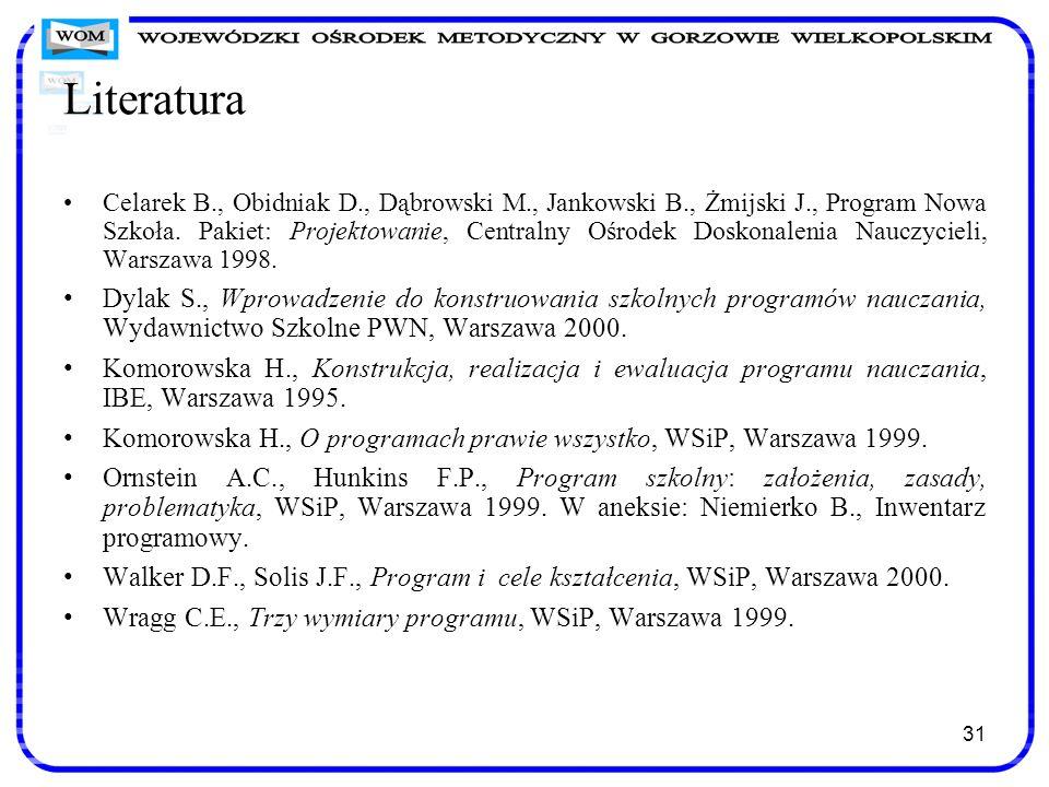 31 Literatura Celarek B., Obidniak D., Dąbrowski M., Jankowski B., Żmijski J., Program Nowa Szkoła. Pakiet: Projektowanie, Centralny Ośrodek Doskonale