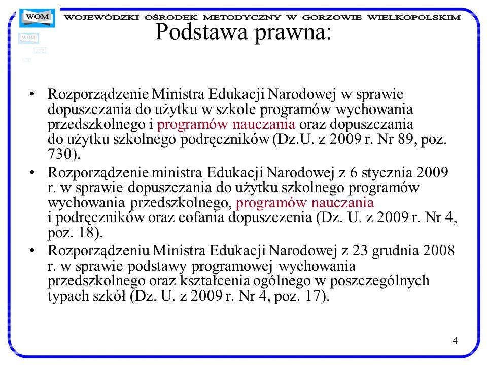 4 Podstawa prawna: Rozporządzenie Ministra Edukacji Narodowej w sprawie dopuszczania do użytku w szkole programów wychowania przedszkolnego i programó