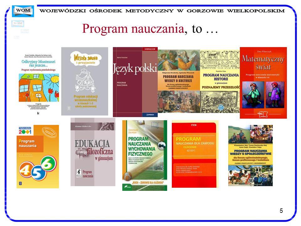16 Zanim wybierzemy program nauczania - praktyczne rady Nowoczesne podejście do programu nauczania wymaga rewizji starych nawyków myślenia.