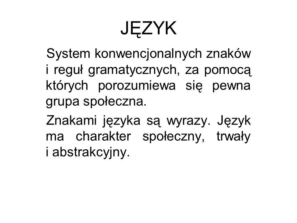 JĘZYK System konwencjonalnych znaków i reguł gramatycznych, za pomocą których porozumiewa się pewna grupa społeczna. Znakami języka są wyrazy. Język m