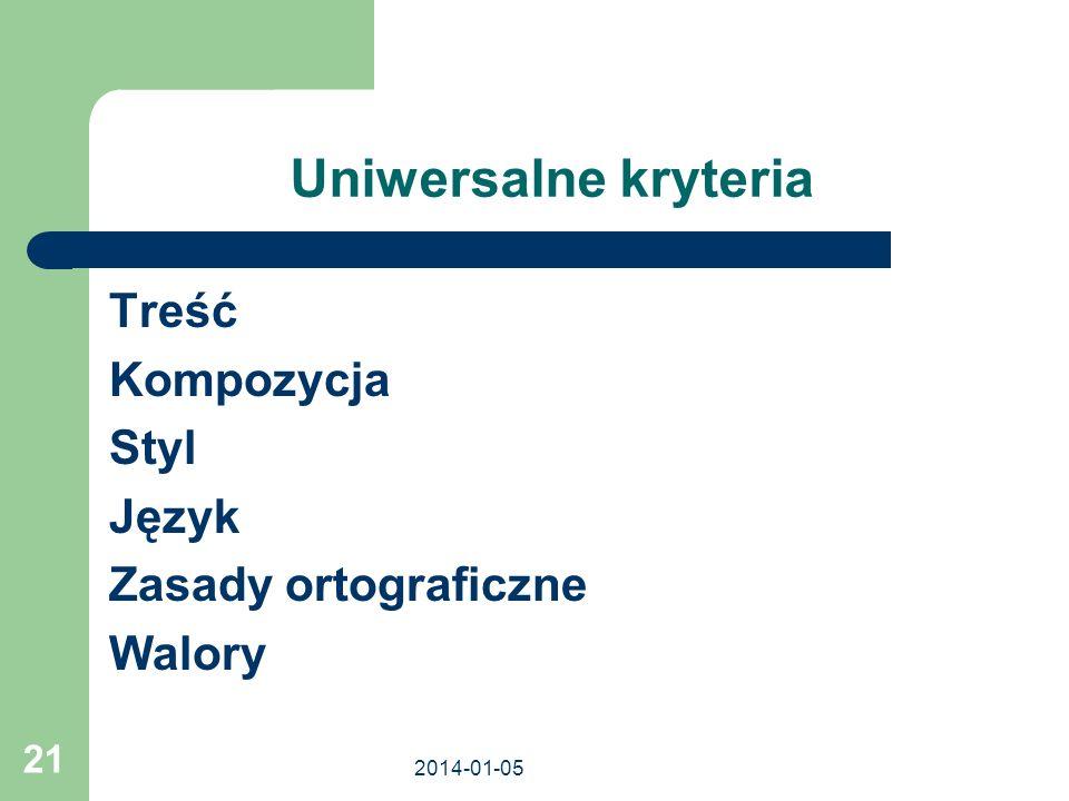 2014-01-05 21 Uniwersalne kryteria Treść Kompozycja Styl Język Zasady ortograficzne Walory