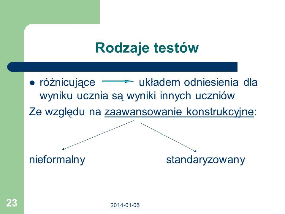 2014-01-05 23 Rodzaje testów różnicujące układem odniesienia dla wyniku ucznia są wyniki innych uczniów Ze względu na zaawansowanie konstrukcyjne: nie