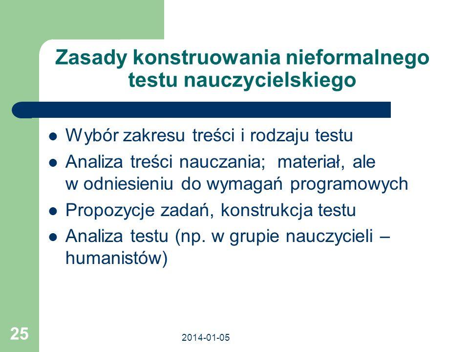 2014-01-05 25 Zasady konstruowania nieformalnego testu nauczycielskiego Wybór zakresu treści i rodzaju testu Analiza treści nauczania; materiał, ale w