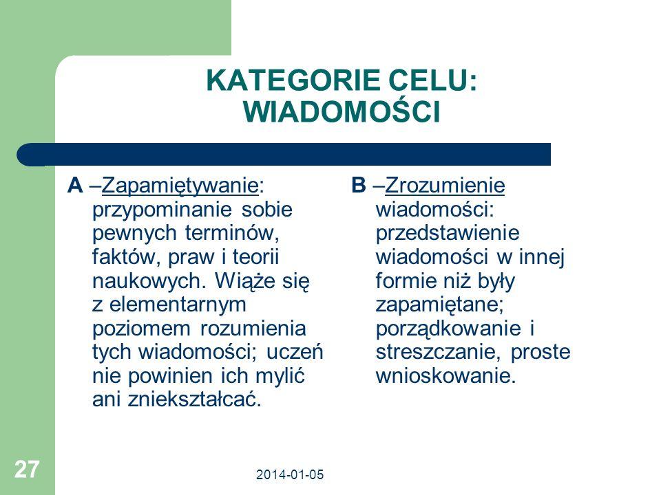 2014-01-05 27 KATEGORIE CELU: WIADOMOŚCI A –Zapamiętywanie: przypominanie sobie pewnych terminów, faktów, praw i teorii naukowych. Wiąże się z element