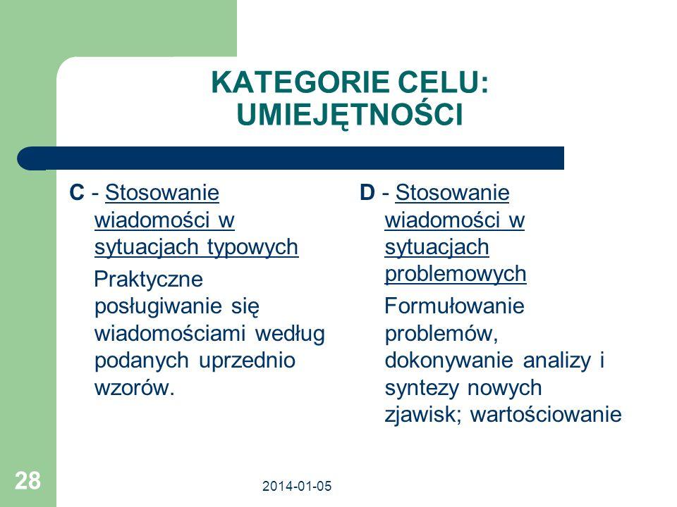 2014-01-05 28 KATEGORIE CELU: UMIEJĘTNOŚCI C - Stosowanie wiadomości w sytuacjach typowych Praktyczne posługiwanie się wiadomościami według podanych u