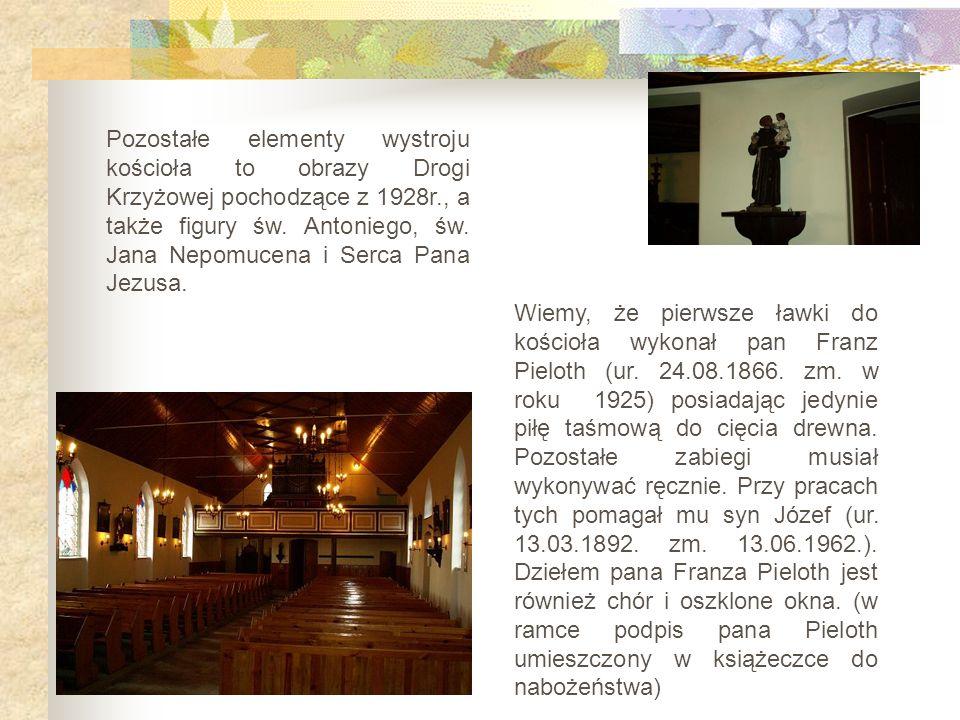 Pozostałe elementy wystroju kościoła to obrazy Drogi Krzyżowej pochodzące z 1928r., a także figury św. Antoniego, św. Jana Nepomucena i Serca Pana Jez