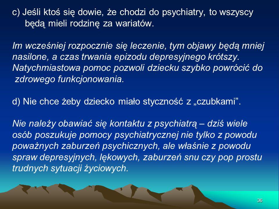 c) Jeśli ktoś się dowie, że chodzi do psychiatry, to wszyscy będą mieli rodzinę za wariatów. Im wcześniej rozpocznie się leczenie, tym objawy będą mni