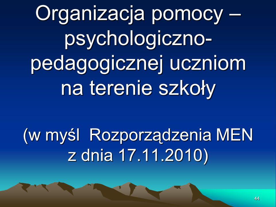 Organizacja pomocy – psychologiczno- pedagogicznej uczniom na terenie szkoły (w myśl Rozporządzenia MEN z dnia 17.11.2010) 44
