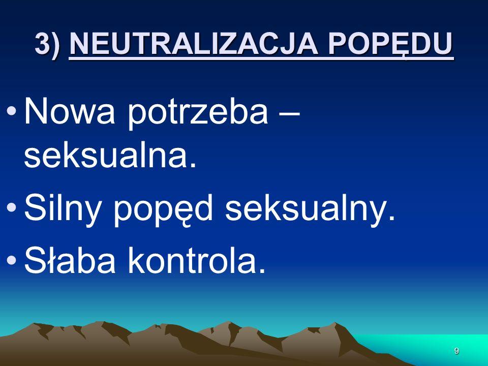 3) NEUTRALIZACJA POPĘDU Nowa potrzeba – seksualna. Silny popęd seksualny. Słaba kontrola. 9