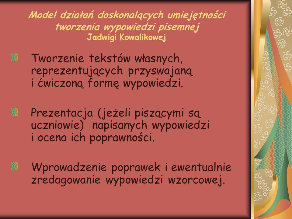 Model działań doskonalących umiejętności tworzenia wypowiedzi pisemnej Jadwigi Kowalikowej Tworzenie tekstów własnych, reprezentujących przyswajaną i