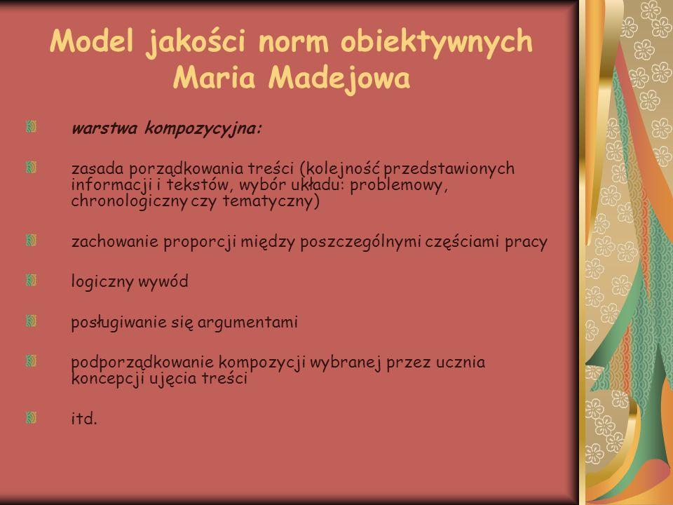 Model jakości norm obiektywnych Maria Madejowa warstwa redakcyjna: poprawne użycie języka (normy obiektywne poprawności językowej są ustalone w słownikach i poradnikach językowych; nauczyciel ma określić rodzaj błędu i jego kwalifikację) spójność estetyka pracy, margines, akapity ortografia i interpunkcja.