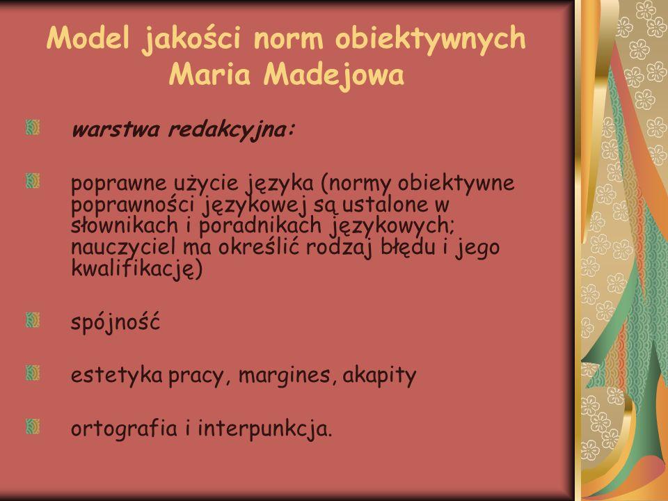 Model jakości norm obiektywnych Maria Madejowa warstwa redakcyjna: poprawne użycie języka (normy obiektywne poprawności językowej są ustalone w słowni