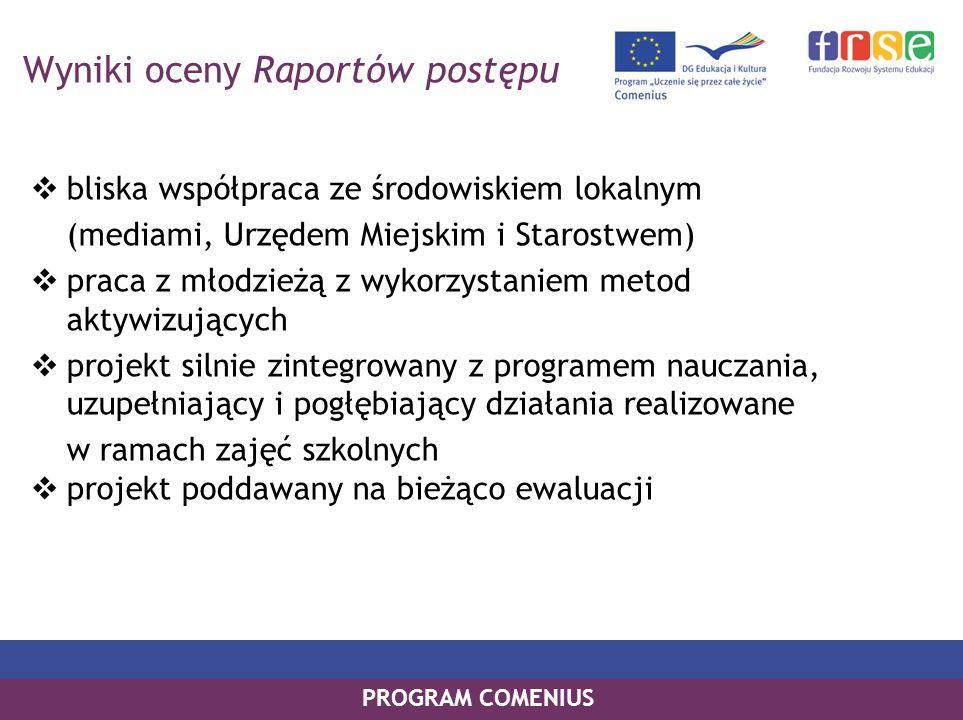 PROGRAM COMENIUS Wyniki oceny Raportów postępu bliska współpraca ze środowiskiem lokalnym (mediami, Urzędem Miejskim i Starostwem) praca z młodzieżą z
