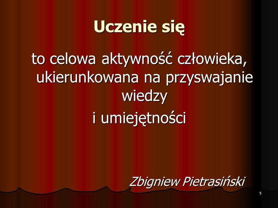 Uczenie się to celowa aktywność człowieka, ukierunkowana na przyswajanie wiedzy i umiejętności Zbigniew Pietrasiński Zbigniew Pietrasiński 5