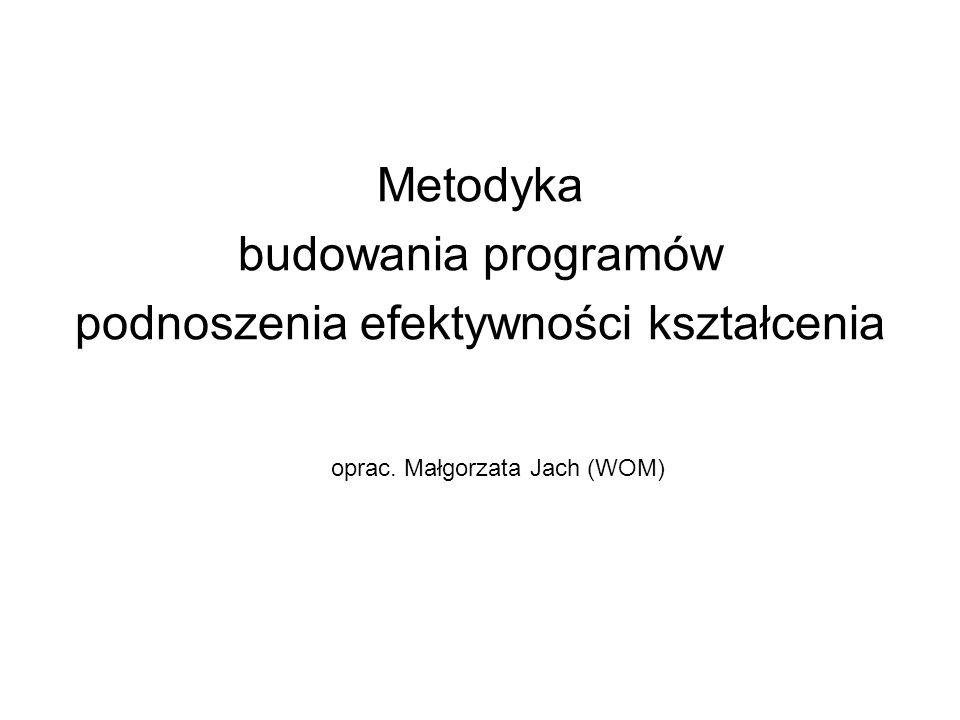 Metodyka budowania programów podnoszenia efektywności kształcenia oprac. Małgorzata Jach (WOM)