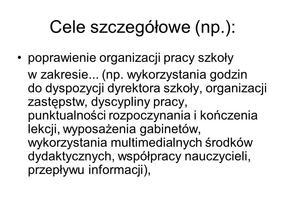 Cele szczegółowe (np.): poprawienie organizacji pracy szkoły w zakresie...