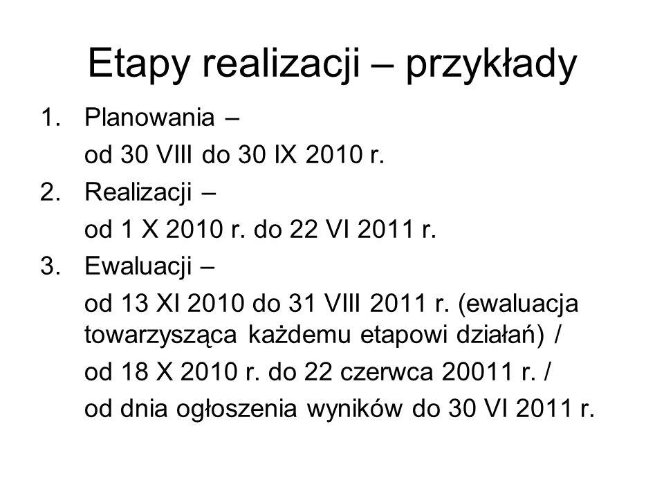 Etapy realizacji – przykłady 1.Planowania – od 30 VIII do 30 IX 2010 r.