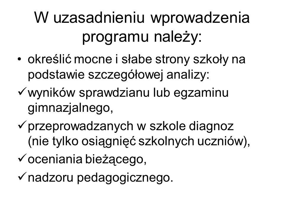 Struktura szkolnego planu poprawy efektywności kształcenia Lp.