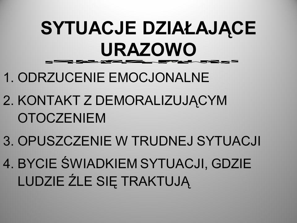 SYTUACJE DZIAŁAJĄCE URAZOWO 1.ODRZUCENIE EMOCJONALNE 2.