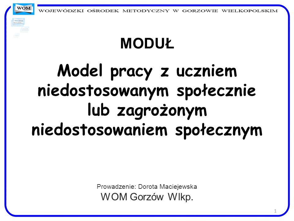 MODUŁ Model pracy z uczniem niedostosowanym społecznie lub zagrożonym niedostosowaniem społecznym Prowadzenie: Dorota Maciejewska WOM Gorzów Wlkp. 1