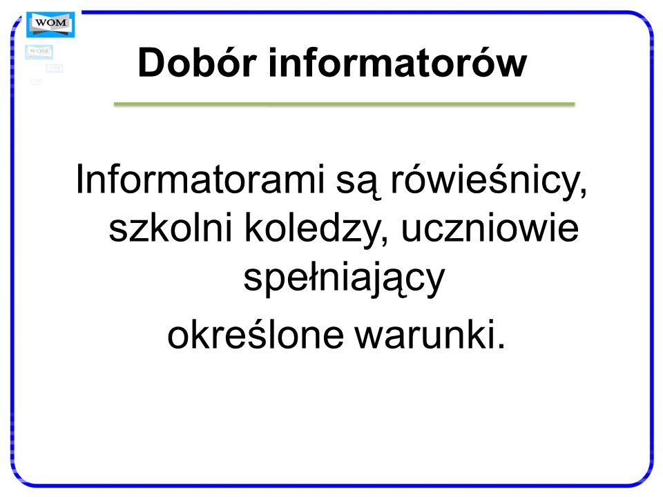 Dobór informatorów Informatorami są rówieśnicy, szkolni koledzy, uczniowie spełniający określone warunki.